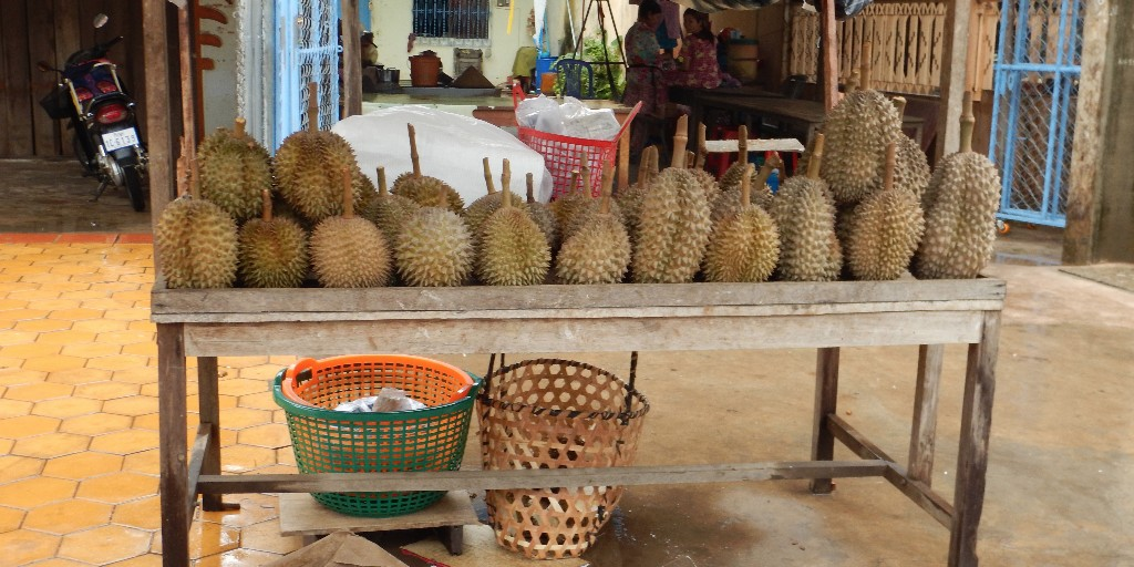 Re-Durian-for-sale-on-the-street-in-Kampot