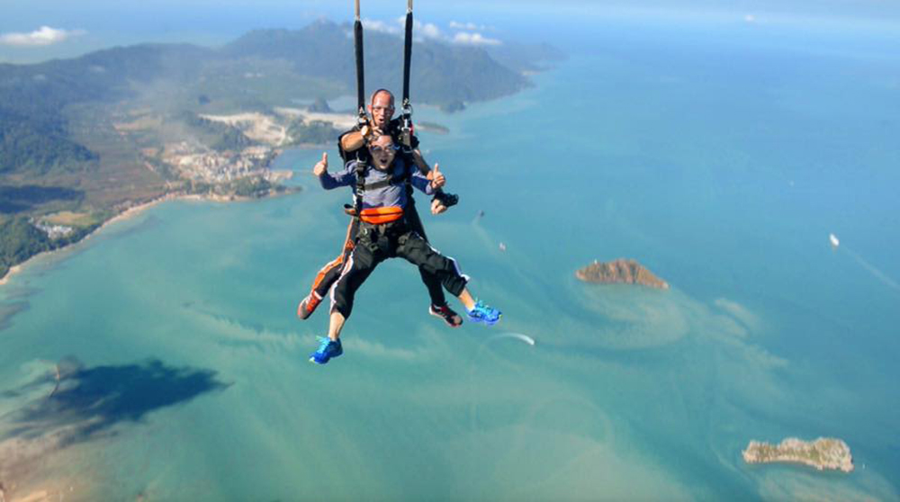 """sky dive in asia dubai adrenaline pumping exciting activities thailand langkawi"""