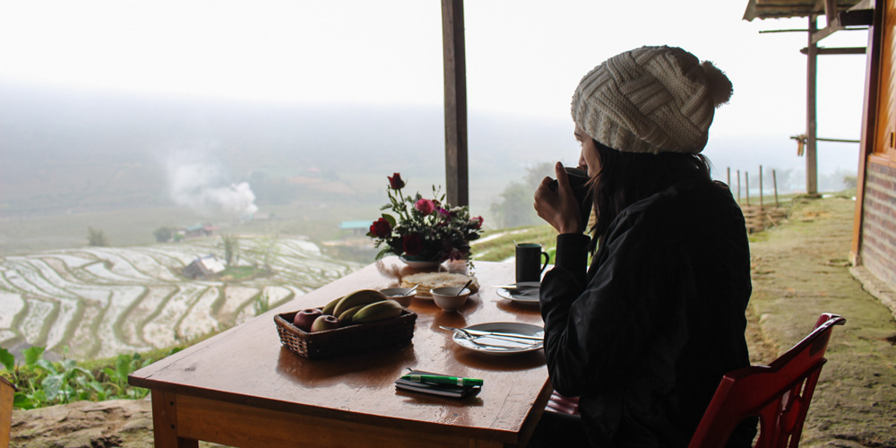 Coffee with panoramic view in Sapa