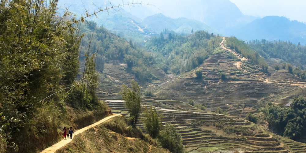 Stunning rice paddies while trekking in Sapa Vietnam