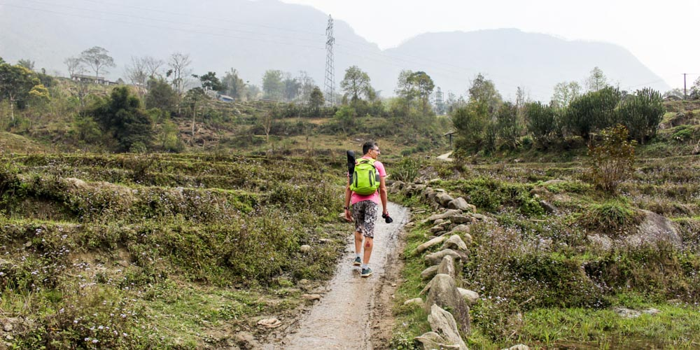 Trekking in Sapa through the rice fields