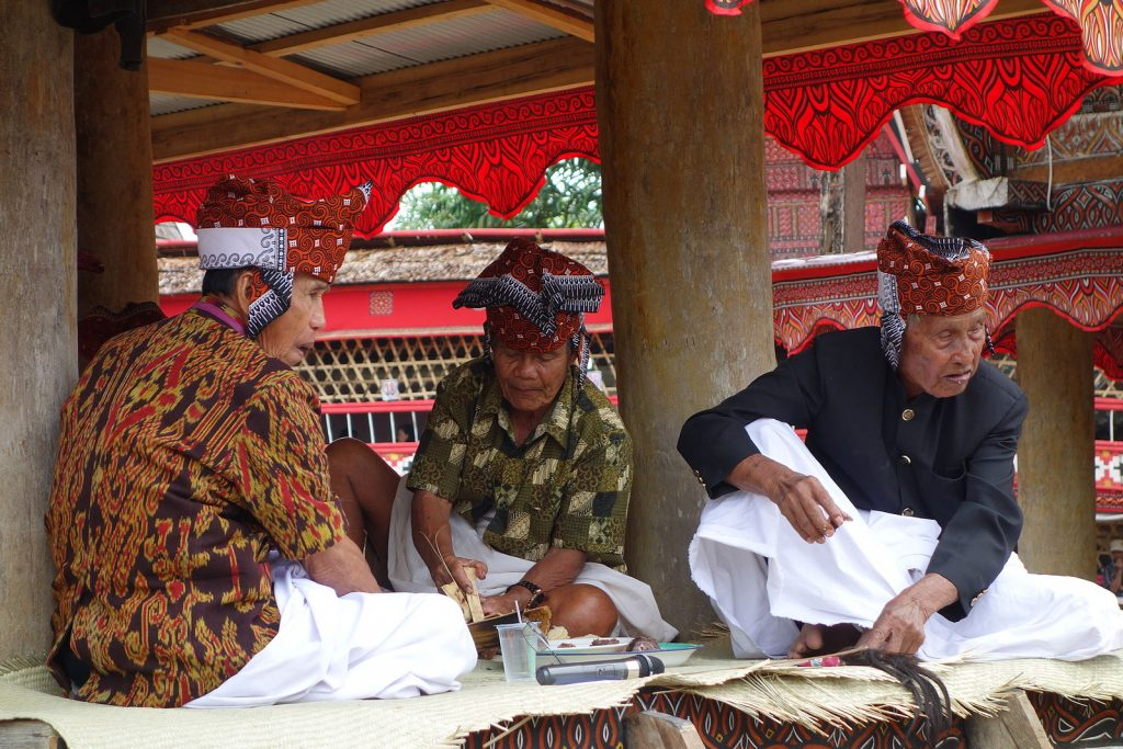 Toraja elders wearing traditional dress