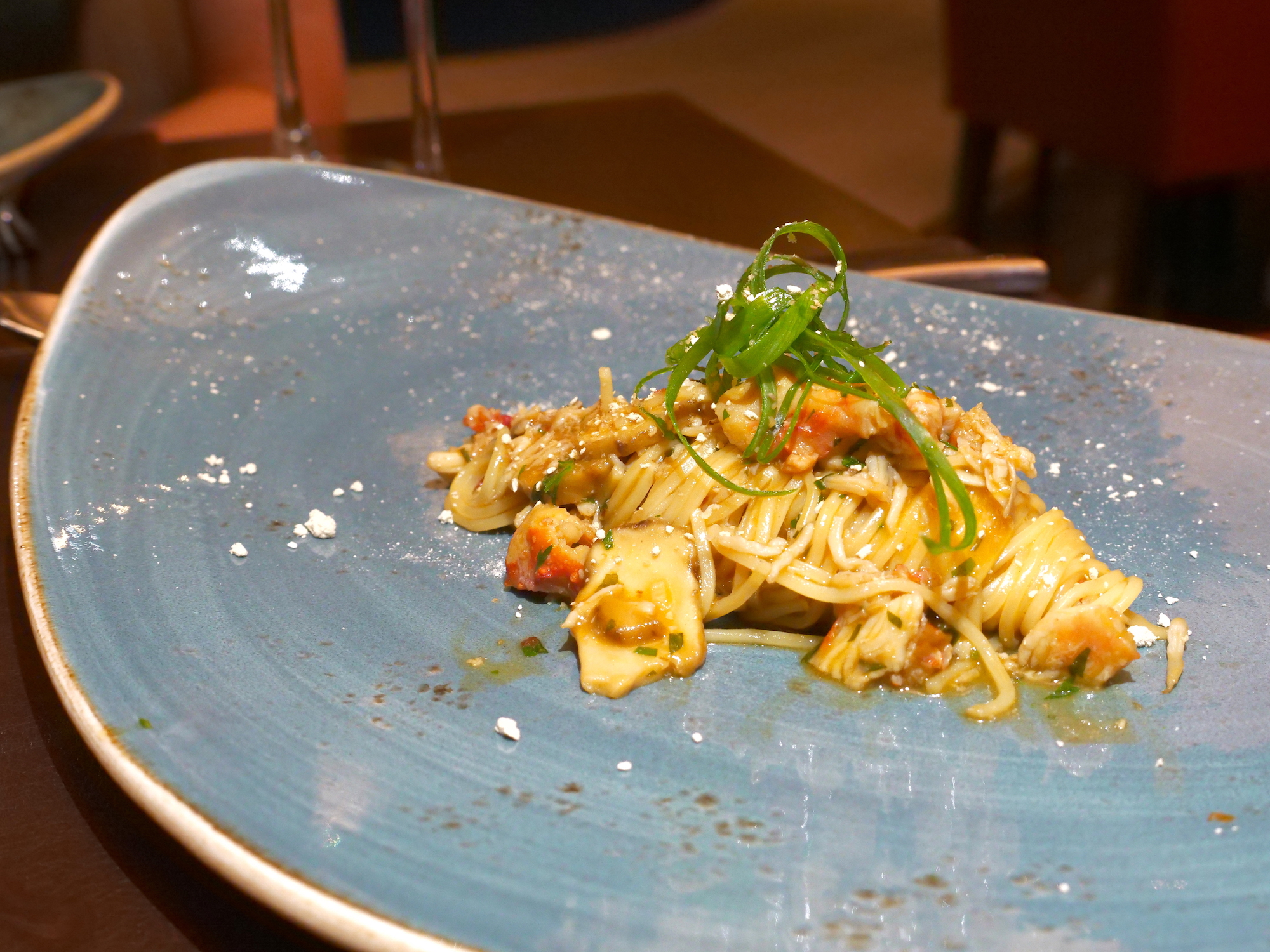 """Crab pasta at Il Cielo"""