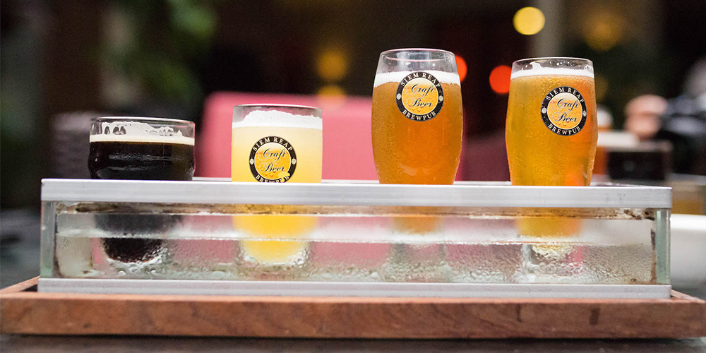 Beer tasting at Siem Reap Brewpub