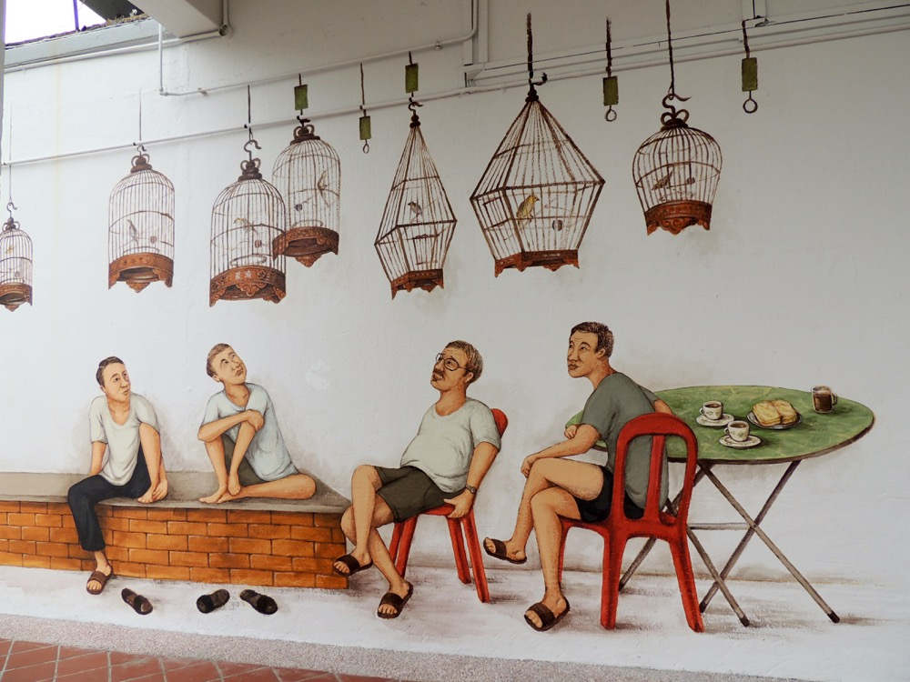 """Bird singing corner mural in Tiong Bahru"""