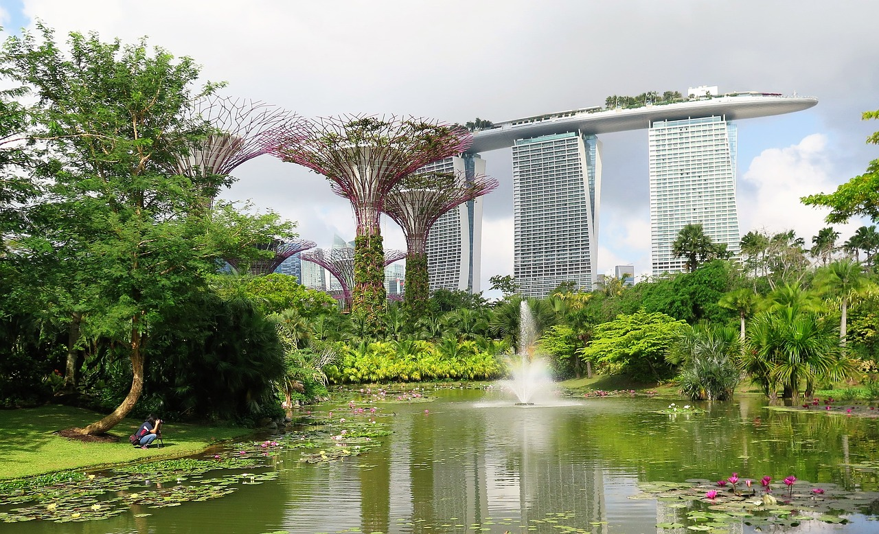 """Gardens by the Bay lakes"""