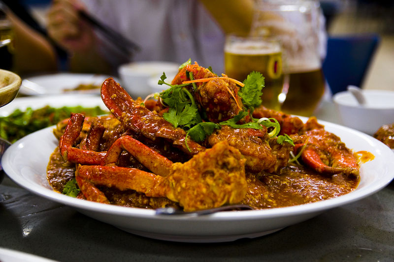 Chilli crab. Source Caspian blue (CC BY-SA 2.0)